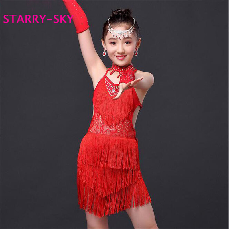 New Child Girls Junior Latin Dresses Sexy Bandage Rhinestone Dance Competition Ballroom Tango Samba Salsa Latin Fringe Dress