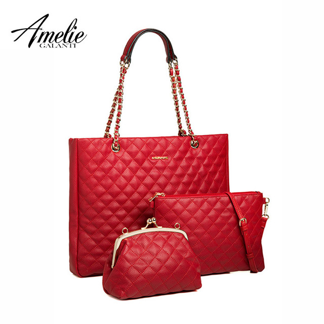 AMELIE GALANTI Women's Shoulder Bag Large Size Geometric Pattern Casual Tote Bag Three Independent Bags