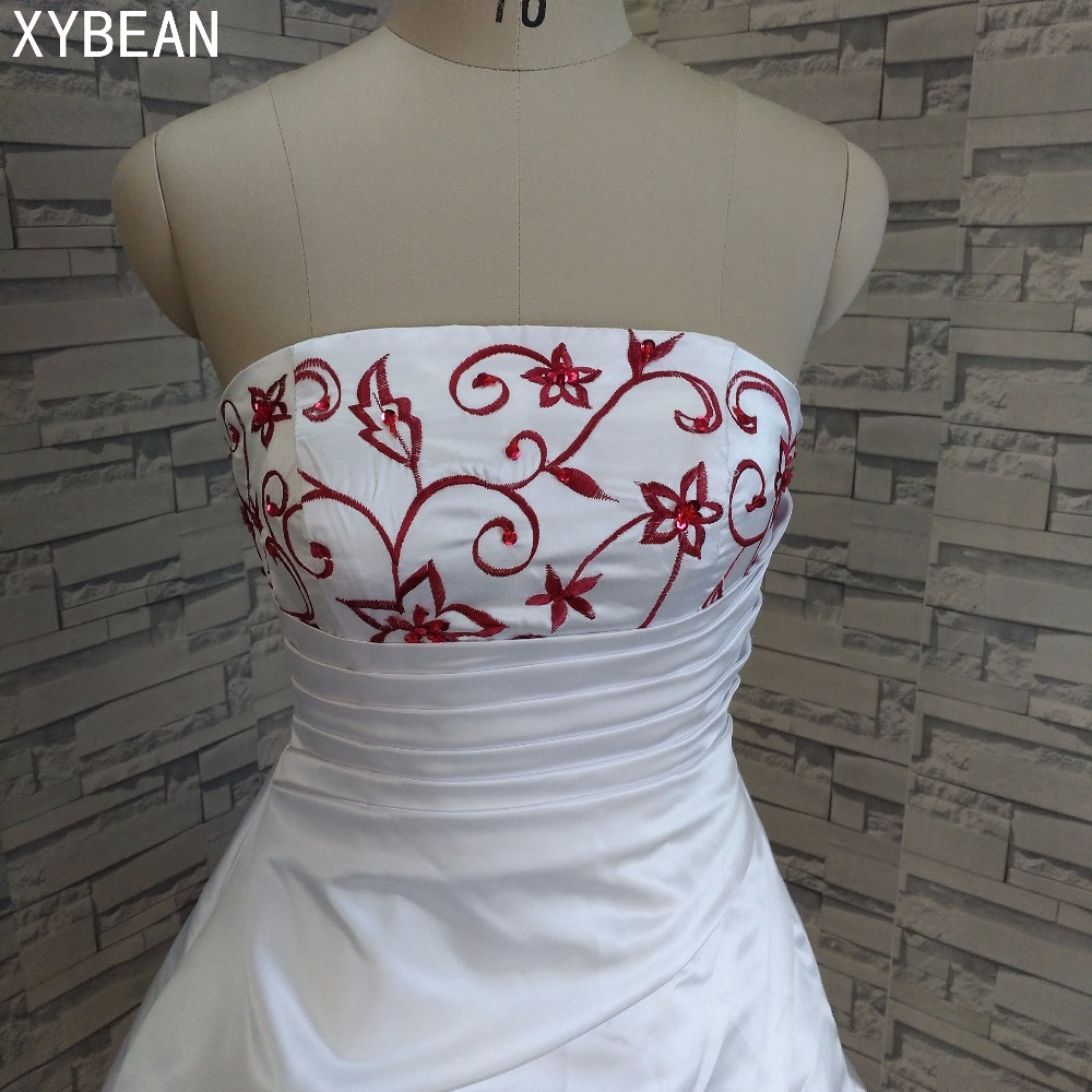 Image 4 - Free Shipping Beading embroidery A line Strapless With Train Wedding Dresseswedding dress with trainwedding dress straplessa line wedding dress -