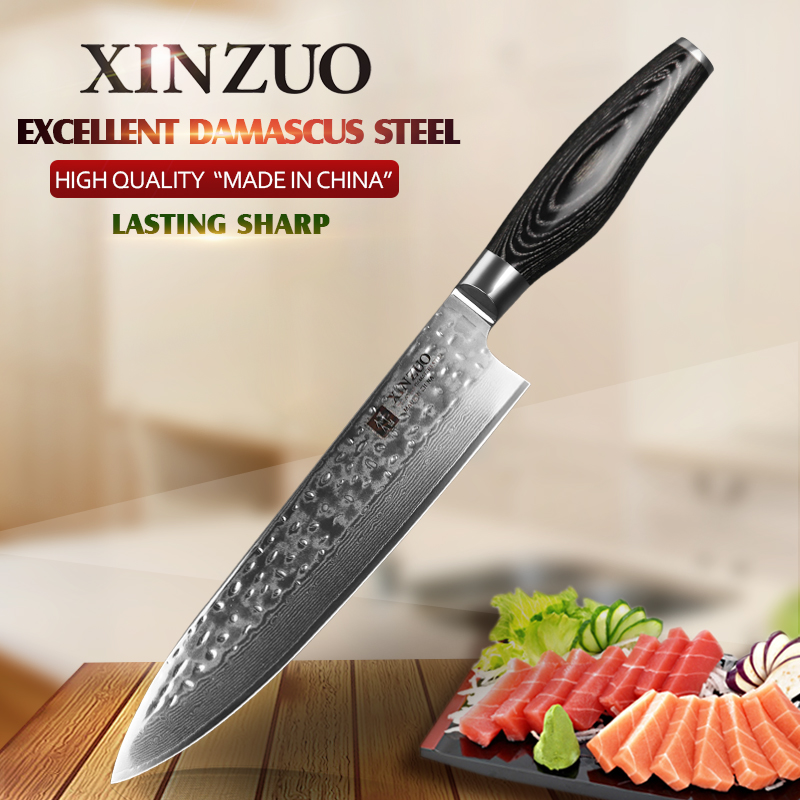 XINZUO 8 inch chef knife Japanese Damascus stainless steel kitchen knife woman chef knife with pakka