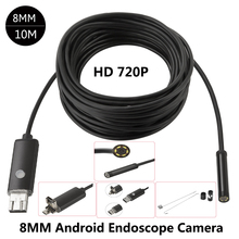 JCWHCAM 8mm HD 2m 5m 10m USB Android Endoscope Inspection Tube Snake Mini Endoscopio Camera OTG IP67 Waterproof Android Endoskop