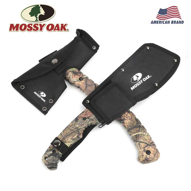 MOSSY OAK 2PC Hunting Axe and  Machete Set Camping Tool Kits Survival Gear Outdoor Tool Set Camo Handle outdoor multifunction camping tools axe aluminum folding tomahawk axe fire fighting rescue survival hatchet
