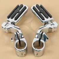 Black 1 25 3 2cm Adjustable Highway Foot Pegs Footpeg For Harley Davidson New