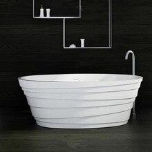 1800x850x600mm Solid Surface Stone CUPC Approval Bathtub Oval Freestanding Corian Matt Or Glossy Finishing Tub RS6555