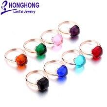 Новинка года 12 мм туманное редкоземное стекло натуральный 8 кольца цвета Большой Камень Обручальное кольцо для женщин покрытые розы модные золотые ювелирные изделия