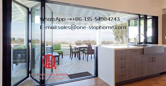 Double/Triple Glazing Tempered Glass Door,Aluminum Alloy Sheet Patio Door,Folding Door,Exterior Accordion Customised Fold Door