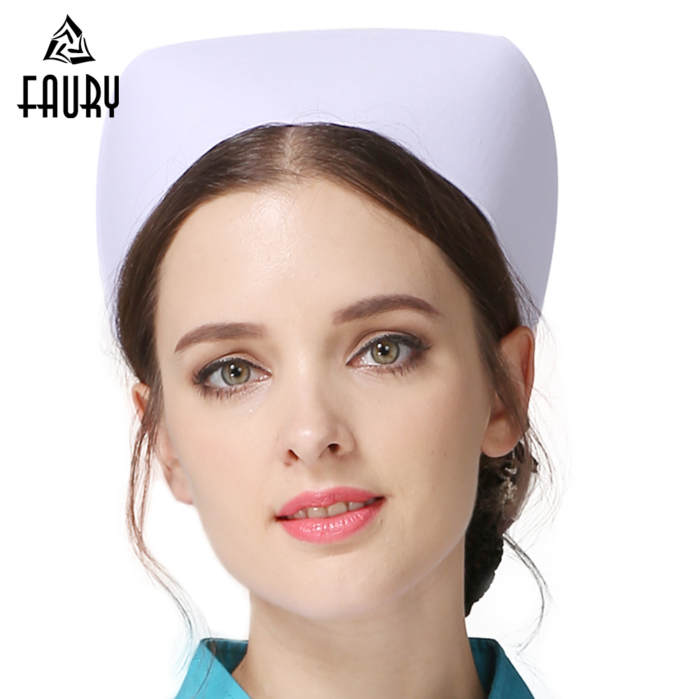 2018 Profession Nurse Hat Medical Staff White Nurse Cap Female Medical Doctor Hat Hospital Detist Work Caps Wholesale Cap