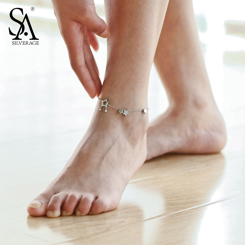 SA SILVERAGE Real 925 Sterling Silver Star font b Anklets b font for Women Fine font