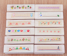 Seal Ink Beautiful Diary DIY Wooden House Decoration Album DIY Scrapbooking Rubber Stamp Stationery Set gsfy 40pcs set happy life diary girl cute cartoon mounted rubber stamp wooden box