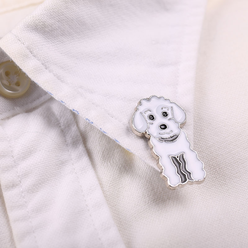 f9d35dd6eb153 الأزياء كلب دبابيس للنساء الرجال الفضة اللون سبائك المعادن الحيوانات  الصغيرة الذكور الإناث بروش دبابيس حزب الملابس والمجوهرات