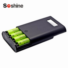 hot deal buy black plastic soshine e3s lcd display replaceable batteries power bank professional charger for 4 pieces 18650 batteries