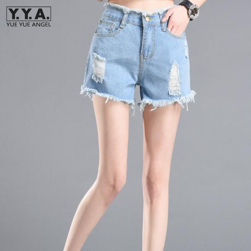 2017 Summer Hot Sale High Waist Women Shorts Hole Ripped Fashion Tessals Plus Size S-5XL Girls Short Jeans Washed Denim Trousers  women s floral embroidery denim shorts 2017 summer fashion hight waist short jeans femme cotton shorts plus size xl e984