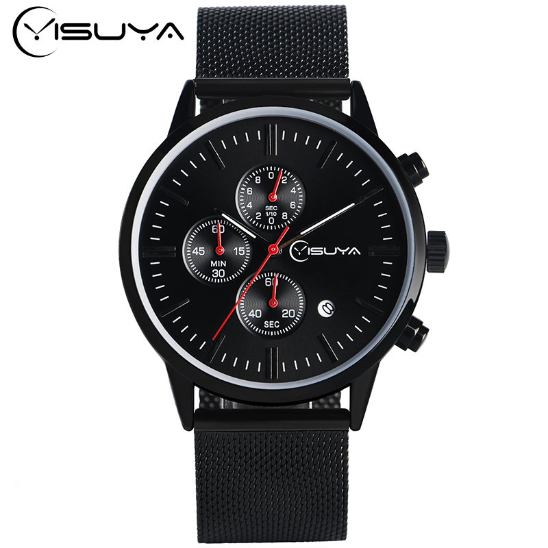 Mens Watches Top Brand YISUYA Chronograph Watch Luxury Formal Business Men Analog Quartz Clock Male Mesh Band Date Montre Homme