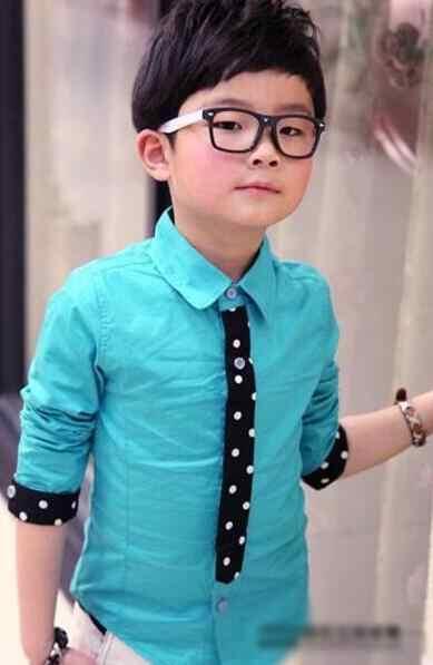 Hot التجزئة 2017 الجديدة ربيع الأطفال أزياء قمصان طويلة الأكمام قميص الأولاد الأزرق التعادل خليط جودة عالية