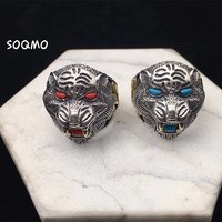 SOQMO 925 Sterling Silver Retro Tiger Open Adjustable Ring Men Thai Silver Vintage Fine Jewelry Gift Finger Ring SQM037