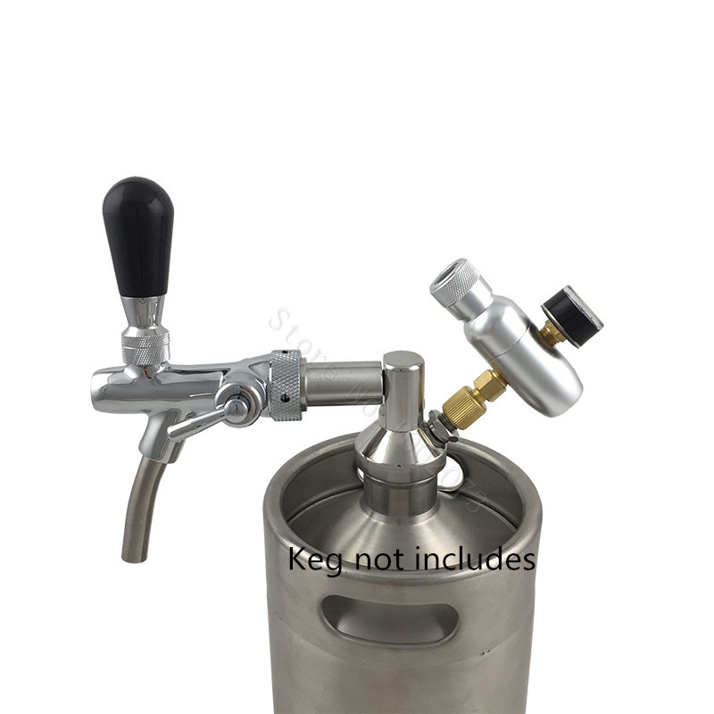 Stainless Steel Keg Mini Beer Growler Spears with Adjustable tap Faucet and mini co2 charger for