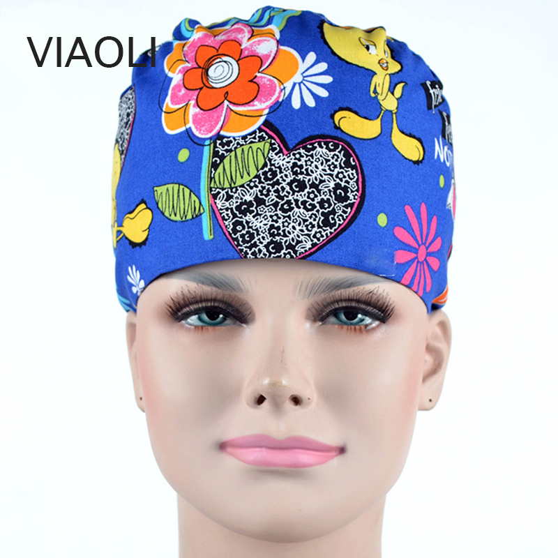 Operating Room Hat And Surgical Caps For Men And Women With Sweatband Cotton Pet Doctor Hats Medical Caps Printing New Arrived