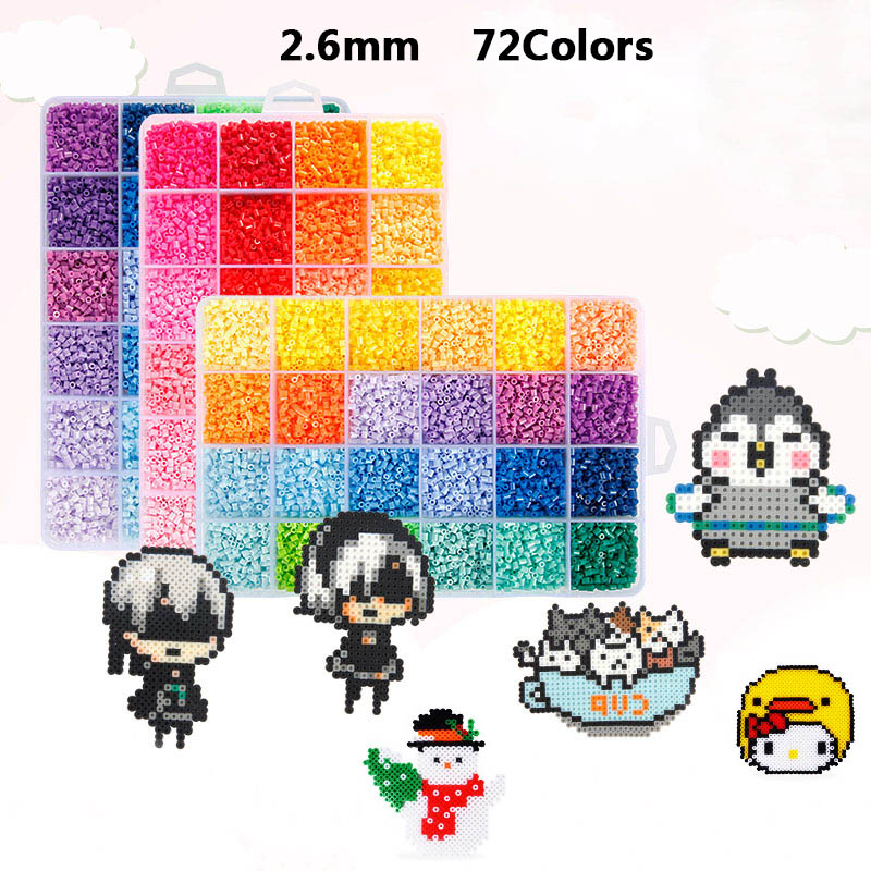 2.6mm 72 Colors 39000pcs EVA Hama Beads Set Toy Mini DIY Beads Template Building Kits Learning Toys For Children