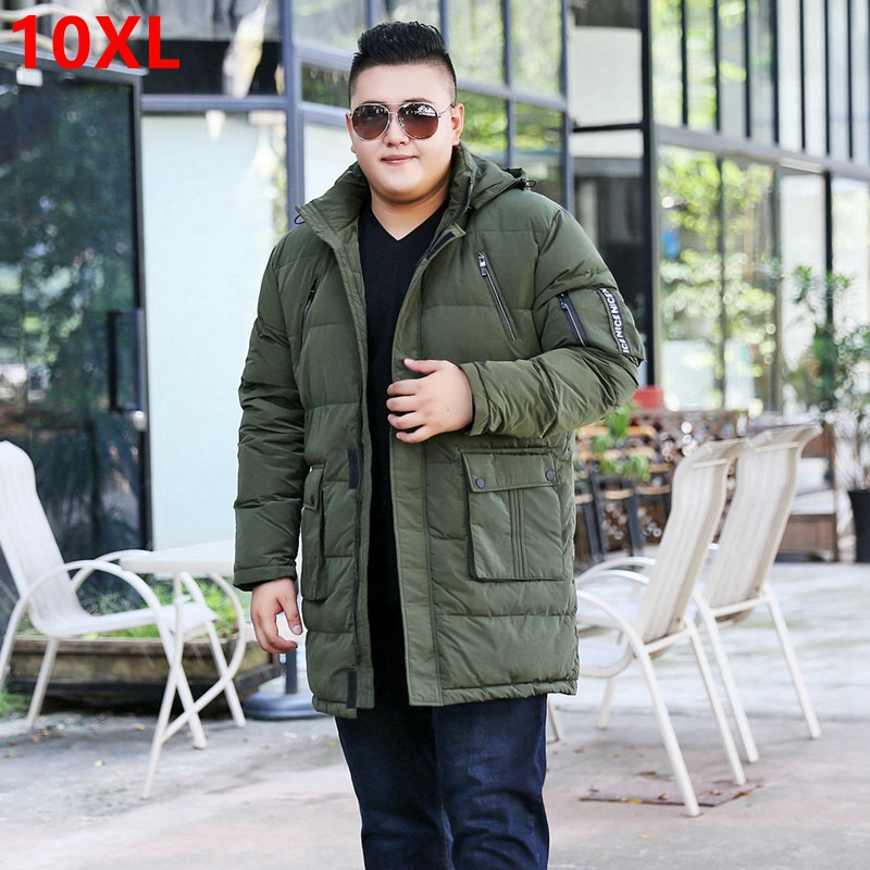 Winter plus size  oversize code  long section of white duck down jacket big size  male fat man men shut coat 10XL 9XL 8XL-in Down Jackets from Men's Clothing