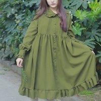 Mferlier Women Dress Ruffles Peter Pan Collar Long Lantern Sleeve High Waist Pleat Ruffled Hem Mori Girl Button Dress