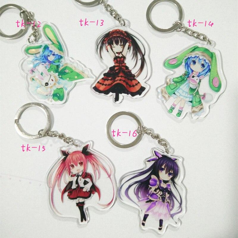 5PCS SET font b Anime b font Keychain DATE A LIVE Yoshino Keyrings Pendant tokisaki kurumi