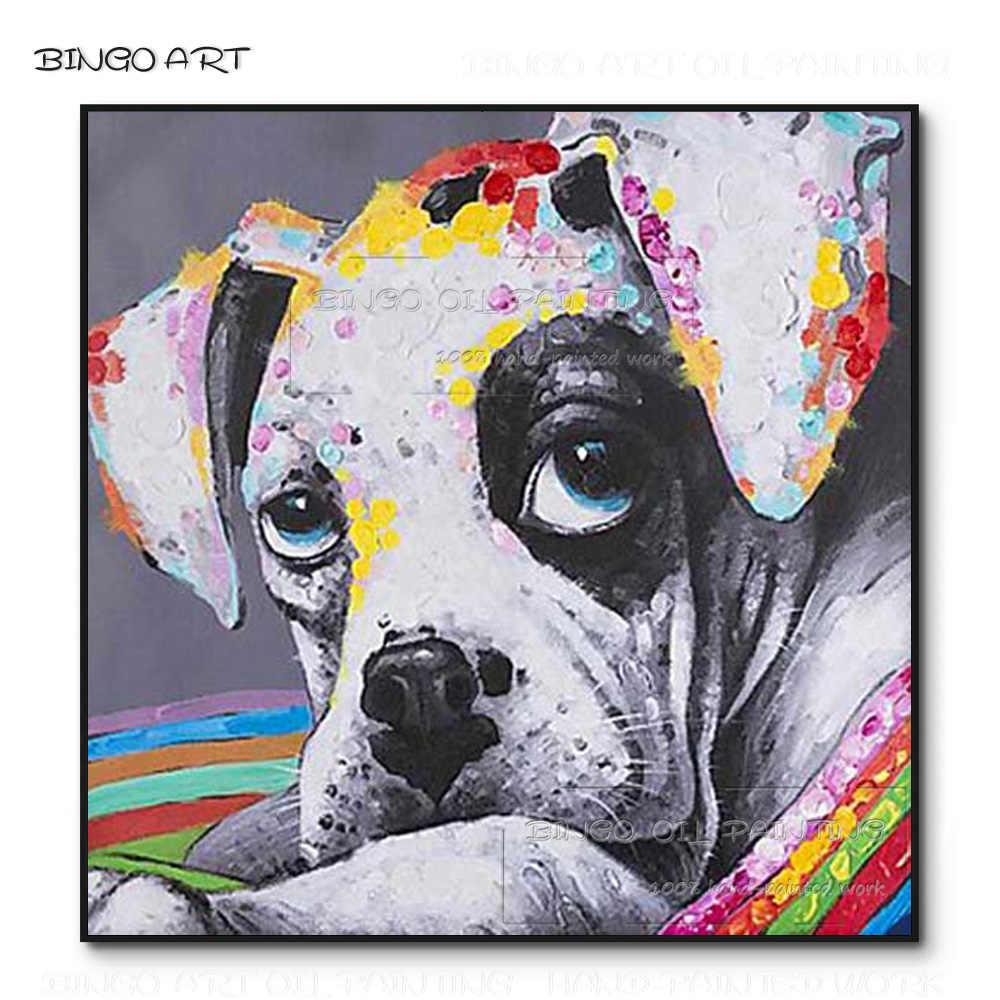 Hand bemalt Mode Wand Kunst Schöne Hund Acryl Malerei Handgemachten Lustige Wand Kunst Große Augen Hund Ölgemälde für wand Dekoration