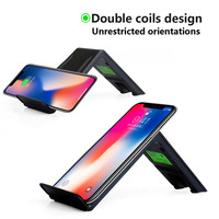 Binmer Mobile Phone Chargers 2 Coils Portable Qi Safe Wireless Charger Charging Stand For Iphone 8