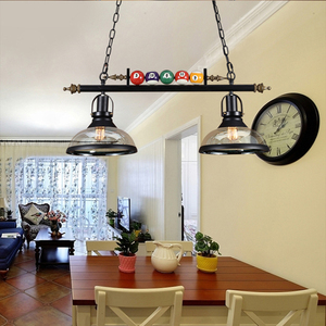Image 4 - VINTAGE จี้ไฟแก้วเหล็กโคมไฟโคมไฟห้องรับประทานอาหารอุตสาหกรรม LOFT ร้านอาหารบิลเลียดจี้โคมไฟ
