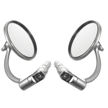 For Cafe Racer 1Pair Chrome Round Bar End Rearview Side Mirror Adjustable CNC Aluminum Mayitr