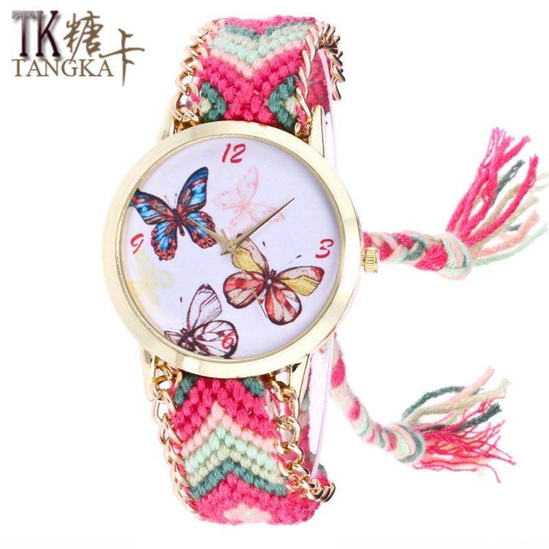 2017 watches women fashion Round Butterfly Dial colored wool Woven bracelet quartz wristwatches girls leisure clock
