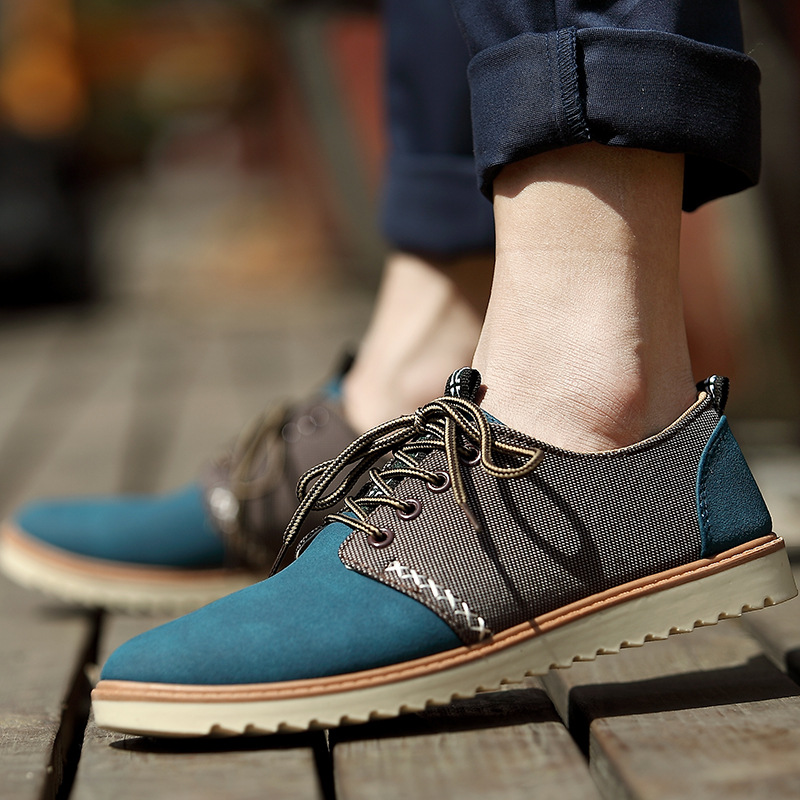 New British Style Spring Summer Men Casual Flats Breathable Air Male Shoes Lace up Mixed Color