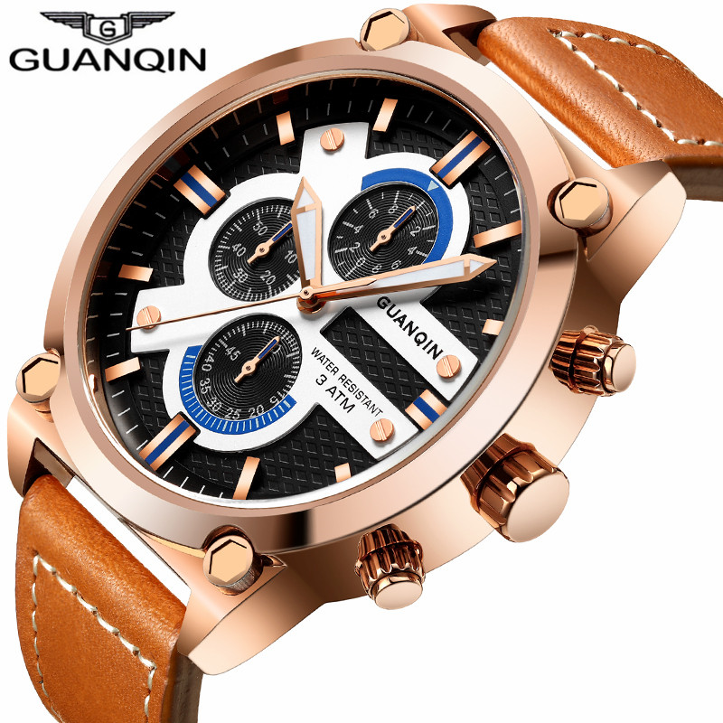 цена на relogio masculino GUANQIN Brand Watches Men Military Sport Chronograph Luminous Clock Casual Fashion Leather Strap Quartz Watch