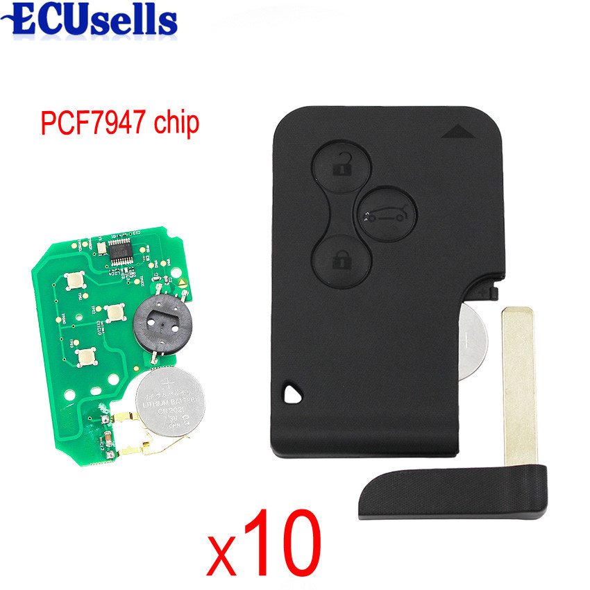 10PCS LOT 3 Button Smart Card Remote Key 434MHZ 7926ATT Chip for Megane Scenic 2003 2008