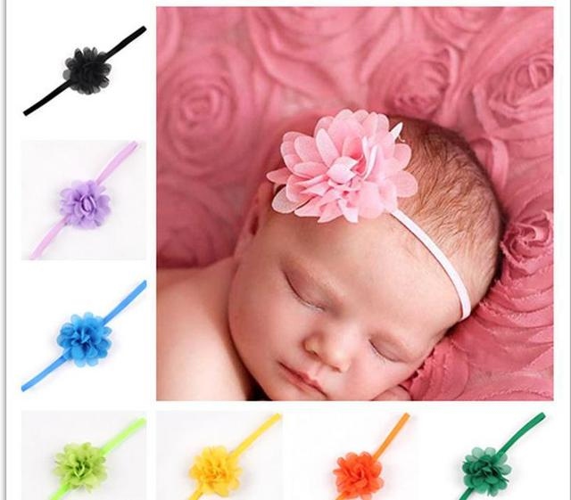 Newborn Baby Girls flor de satén cinta diademas fotografía atrezzo ...