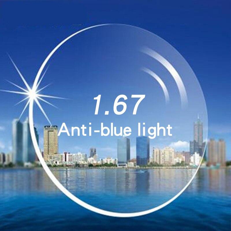 LAO YE HUI Custom eye lens Anti Blue Light 1.67 Optical Lenses Aspherical Myopia Lens Prescription Glasses Lens lentes