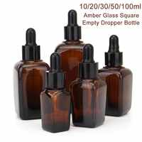 5pcs Square Glass Dropper Bottle With Eye Pipette Empty Amber Aromatherapy Essential Oils Bottle Containers 10/20/30/50/100ml