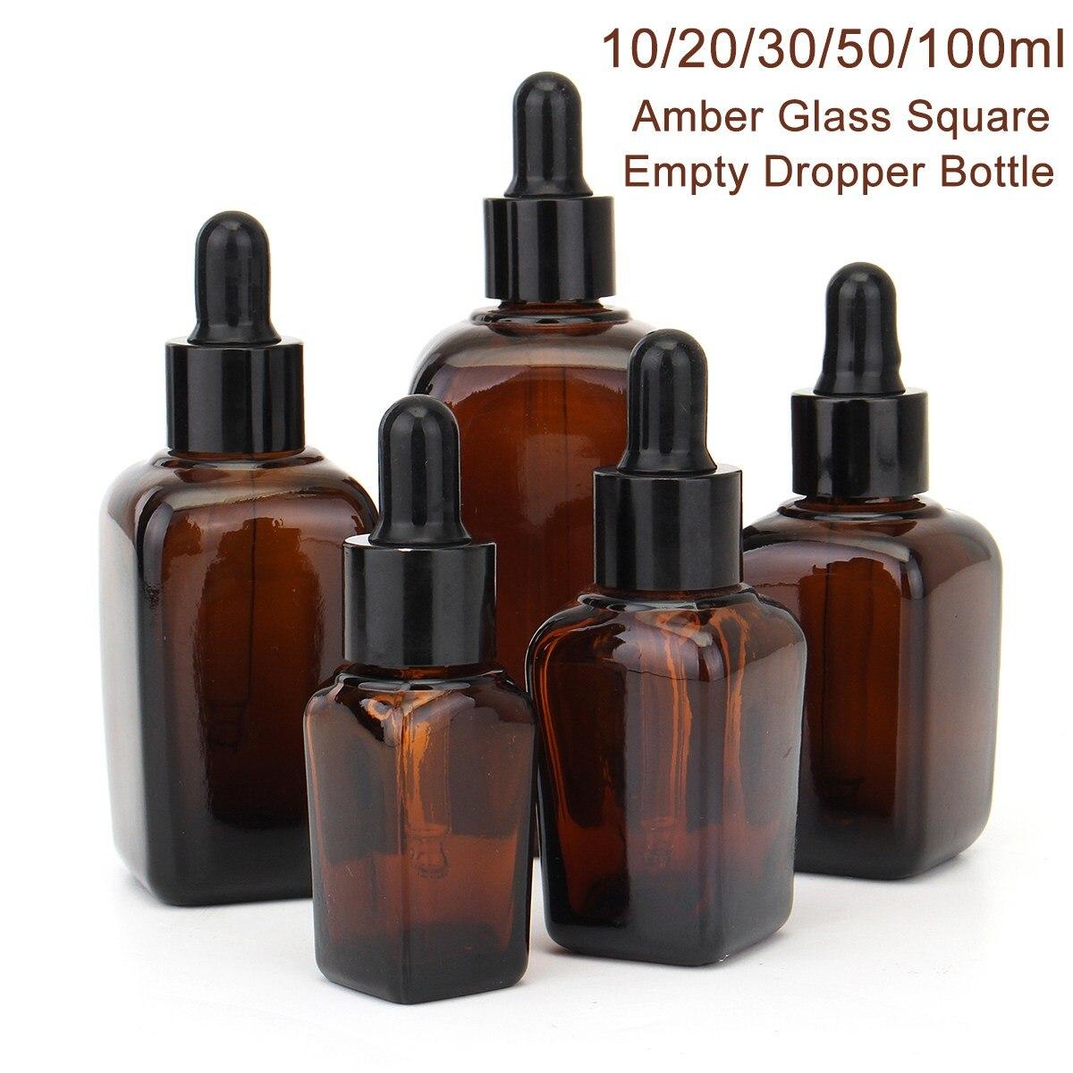 Recipientes de garrafa 10/20/30/50/100ml dos óleos essenciais da aromaterapia do âmbar vazio da garrafa do conta-gotas de vidro quadrado de 5 pces com a pipeta do olho