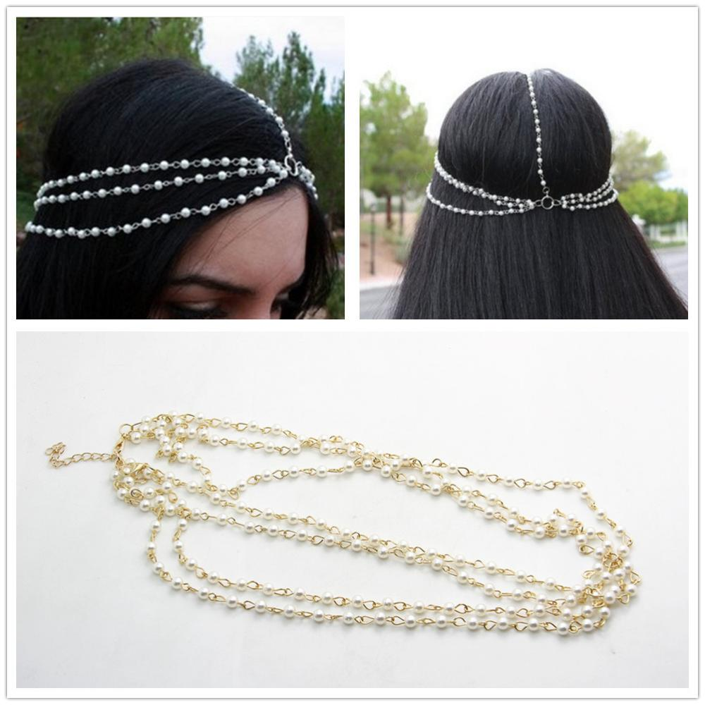 Fashion Indian head Hair jewelry multilayer pearl Gold wedding hair accessories bridal Crown tiaras Headband Head Chain CF099
