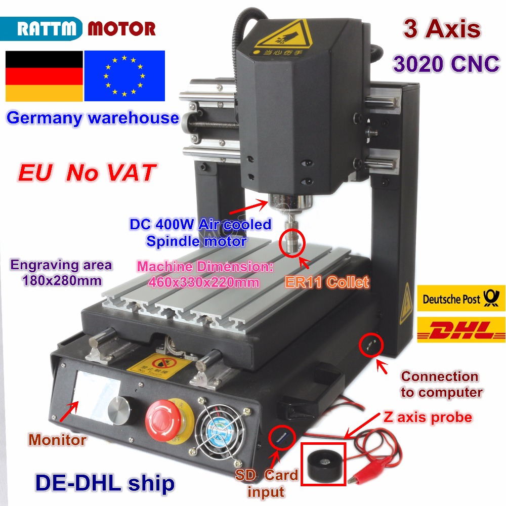 DE Free VAT Desktop 3 Axis 2030 CNC Router Engraving Milling Machine With Emergency Stop High-strength Steel + 400W Spindle