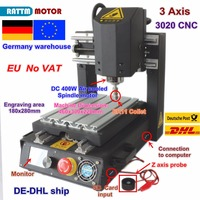 DE free VAT 3 Axis 2030 Desktop CNC Router Engraving Milling Machine with Emergency stop High strength steel + 400W Spindle