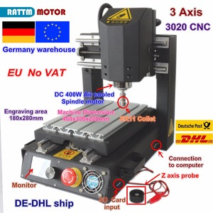 Image 1 - DE free VAT Desktop 3 Axis 2030 CNC Router Engraving Milling Machine with Emergency stop High strength steel + 400W Spindle