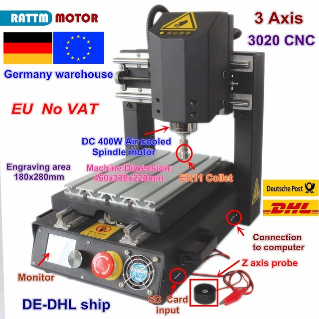DE free VAT Desktop 3 Axis 2030 CNC Router Engraving Milling Machine with Emergency stop High strength steel + 400W Spindle