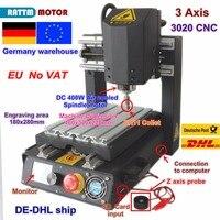 De livre iva desktop 3 eixos 2030 cnc roteador máquina de gravura fresadora com parada de emergência de alta resistência de aço + 400 w eixo|Roteadores de madeira|   -