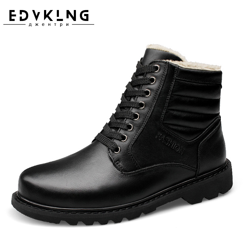 EDVKLNG Winter Snow Boots Super Warm Size 38~48 Genuine Natural Leather Handmade Men Winter Shoes