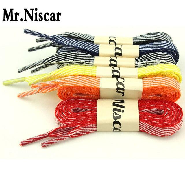 1 Pair Flat Shoelaces Colour Shoestring Striped Shoelaces Shoe Accessories for Canvas Shoes Sneaker Length: 120 CM-160 CM