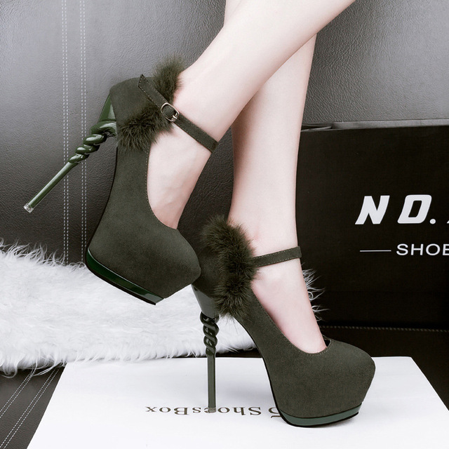 women heels wedding shoes bridal ankle strap heels 2017 dress shoes women pumps platform shoes grey high heels hair fur D943