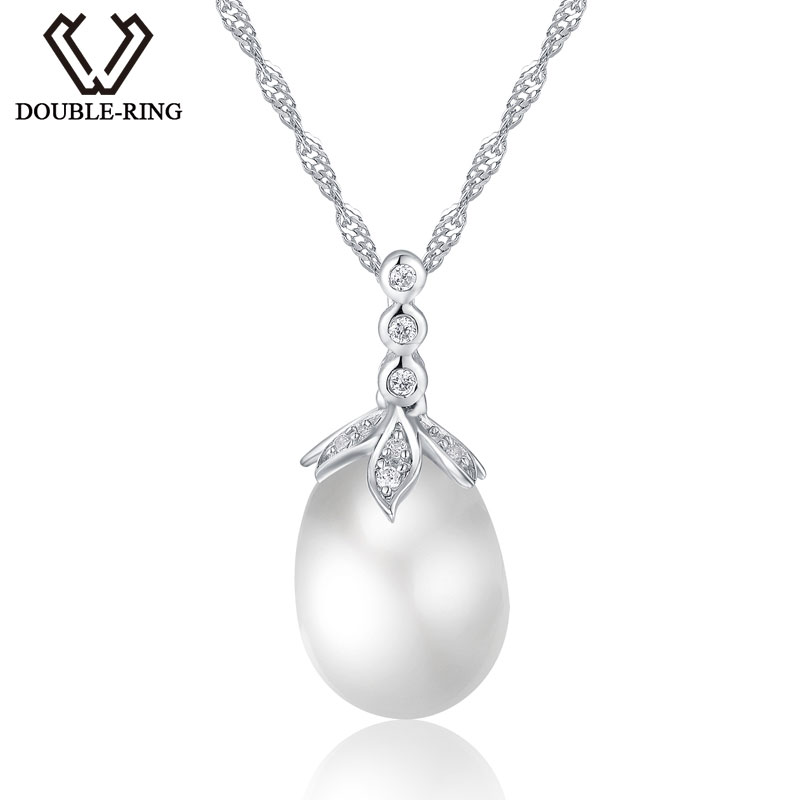 DOUBLE-R Natural freshwater pearl necklace Water Drop 925 Sterling Silver Pendant Necklace fine Jewelry for women Mothers Day gemstone fine women jewelry real natural fresh water pearl pendant necklace wedding necklace 925 sterling silver double layers