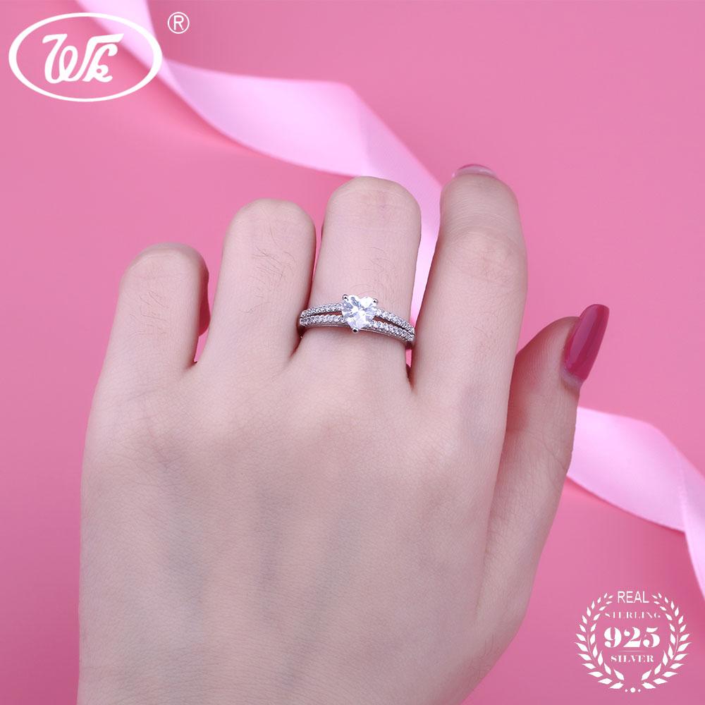 WK Real 925 Sterling Silver Heart Ring Women Female Luxury Cubic ...