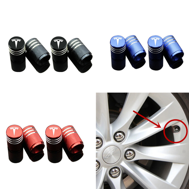 4 pcs Alu Alloy Chrome Car Wheel Tire Valve Cap Cover with Tesla Logo for Tesla Model S Model X Exterior Accessories