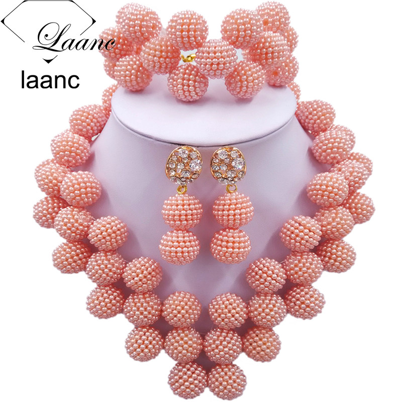 Laanc Latest Peach Nigerian Beaded Jewelry Set Women African Beads Bridal Jewelry Sets JXZ008